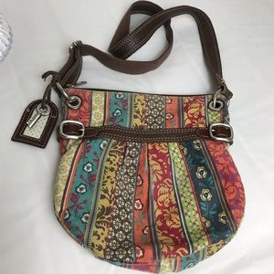 Fossil fabric and leather purse cross body bag